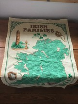 Gently Used Linen Union IRISH Families Yellow & Green Kitchen Towel Wall Hanging image 2