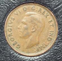 KM#32 1947 Canadian George VI Cent With Leaf XF #0525 - $0.89