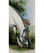 Little Vaquero by Lesley Harrison Horse Child Children Kids Cowboy Canva... - $123.75