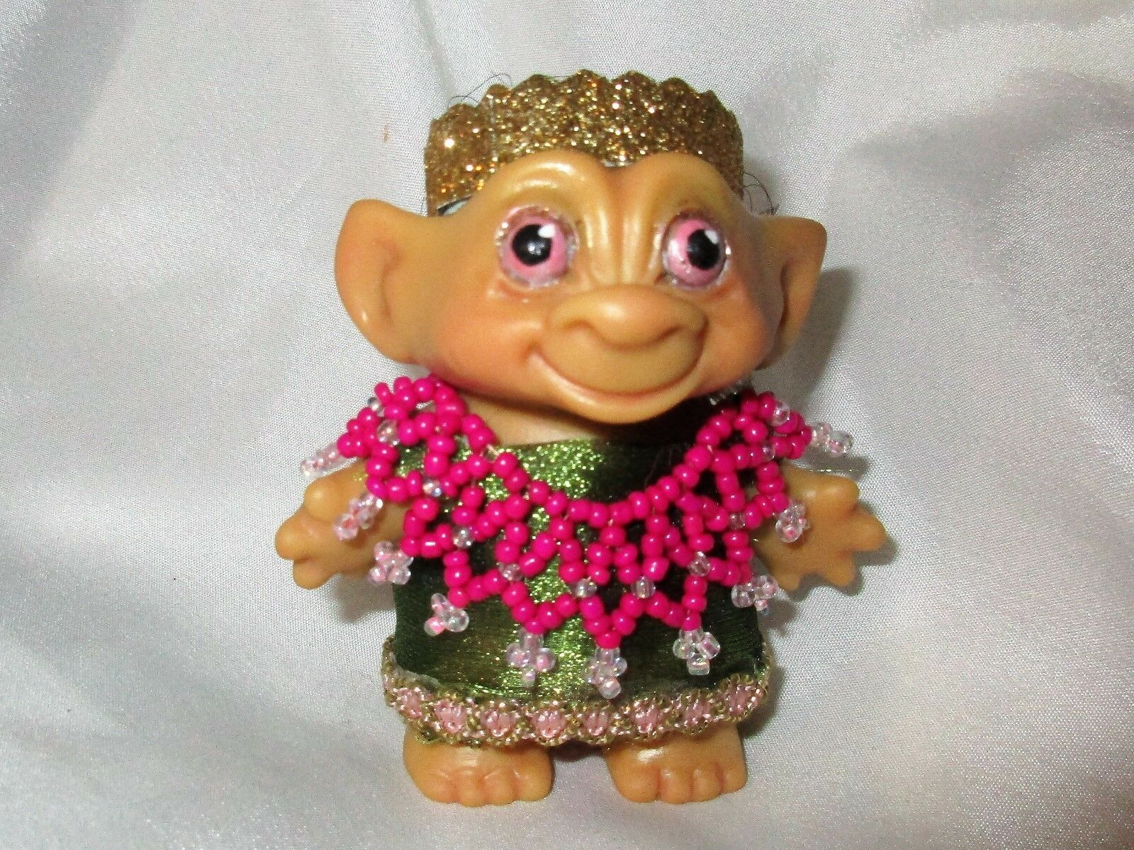 ROOTIE TROLL 3 inch BLACK Hair ooak custom tab doll Vintage 60's Indian Dress