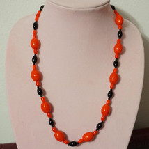 Vintage French Jet Red Bead Necklace - $25.00