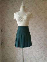 DARK GREEN Pleated Skirt Women Girls Campus Style Pleated Mini Skirt - Plus Size image 2