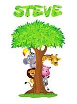 PERSONALIZED SAFARI ANIMALS TREE Decal Removable WALL STICKER Decor Art ... - $13.49+