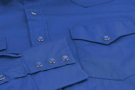 Men's Pearl Snap Button Western Slim Fit Stretch Cowboy Dress Shirt w/ Defect M image 3