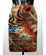 Zoe D Linen Peacock Feather Print A Line Skirt Size 8 NWT - $39.11