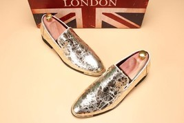 Summer Style Men Shoes Silver Leather Loafers Slip-on Only $189.99/Pr. ! - $189.99