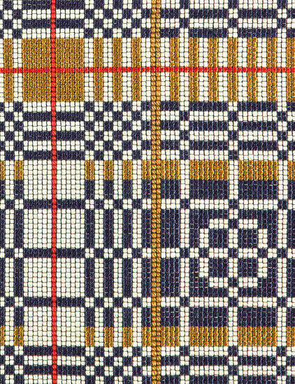 Pollack Upholstery Fabric Weave On Mod Blue & Gold Pattern  2414/01 7.125 yds QP