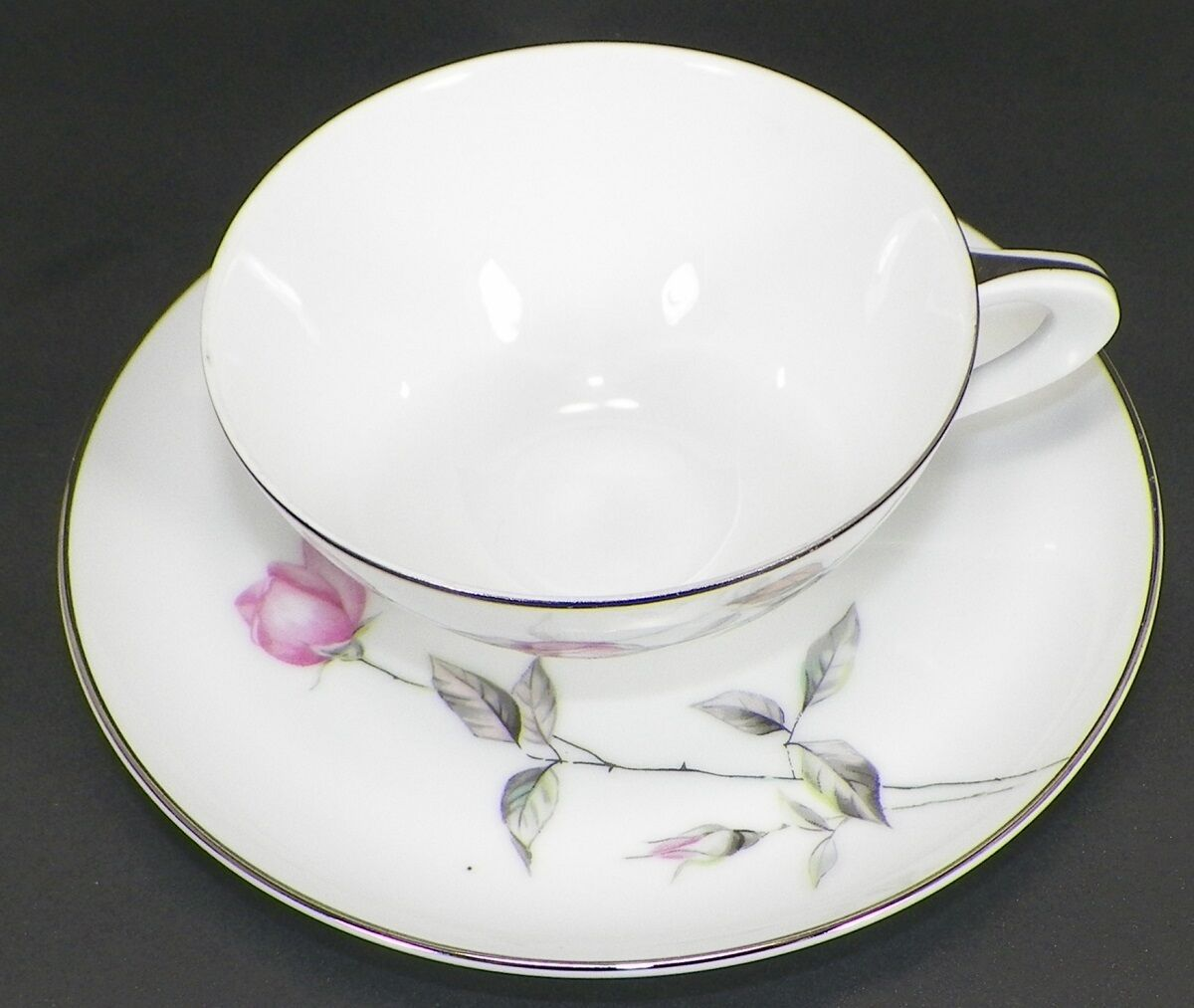 SANGO JAPAN FLAT CUP AND SAUCER SET FINE CHINA DAWN ROSE PATTERN -F10