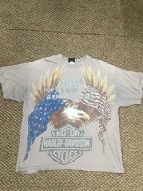 Men's Harley Davidson Motorcycles Gray 105th Anniversary T-Shirt Eagle XL - $17.81