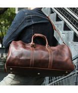 Sale, Men Vintage Tote, Travel Bag, Full Grain Leather Shoulder Duffle B... - $190.00