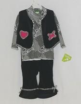 Snopea 3 Piece Outfit Vest Shirt Pants Black White Velour Size 18 Months image 1