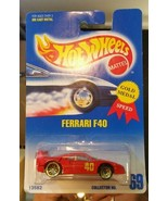 VARIATION Hot Wheels #69 Ferrari F40 Red with Gold Ultra Hots Blue Card ... - $222.75