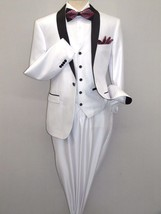 Men's Lorenzo Bruno Shawl Tuxedo Slim 3 Piece Shiny Formal Suit S6501V W... - $81.00