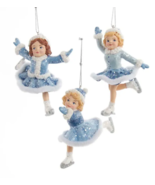 "KURT ADLER SET OF 3 HAND PAINTED 4.5"" BLUE ICE SKATING GIRL CHRISTMAS OR... - $34.88"
