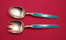 David Anderson Sterling Silver Salad Serving Set 2pc Vermeil with Green Enamel - $274.55