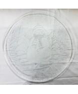 "Christmas clear glass platter 12.5"" Snowman snow tree - $13.43"