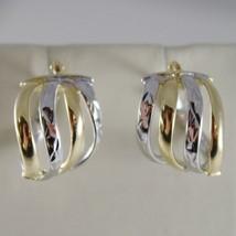 18K YELLOW WHITE GOLD EARRINGS ALTERNATE WORKED HOOPS HOOP 13 MM MADE IN ITALY image 1