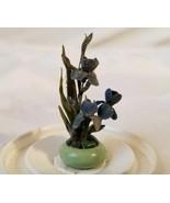 Artisan Plant Celadon Vase Dollhouse Miniatures 1:12 Handmade Purple Irises - $37.00