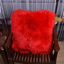 HUAHOO Sheepskin Pillow Red Red Fur Throw Pillow Case Cushion Cover 16 x... - $31.99