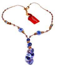 Necklace Antica Murrina Venezia with Murano Glass Purple Blue CO871A05 - $85.89