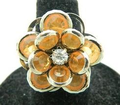 VTG Styled Silver Tone Orange Rhinestone Flower Statement Ring Size 6 - $19.80
