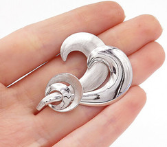 A&2 925 Sterling Silver - Shiny Etched Modernist Design Swirl Brooch Pin... - $29.82