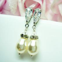 Diamond Swarovski Pearl Earrings - Classic Bridal Jewelry - $25.00+