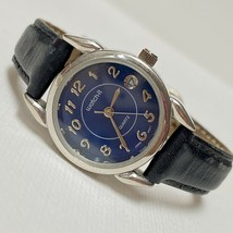 Vintage Watch-It Retro Women's Blue Dial Date Watch Silver Black Leather... - $19.75