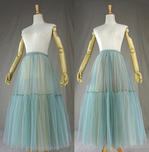 Green Yellow Tiered Midi Tulle Skirt Puffy Tulle Midi Skirt Outfit image 6