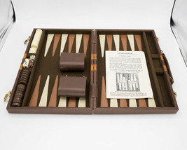 Vtg Backgammon Game Set By Cardinal with Brown Faux Leather Travel Case - $19.95