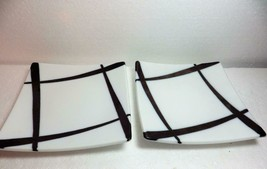 2 Crate & Barrel Square Appetizer Sushi Plates White Brown Slashes Lines... - $21.78