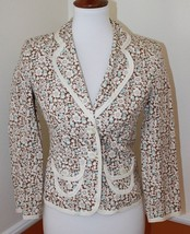 Express Floral Brown Blue Blazer Jacket Two Button Closure 100 % Cotton Size 0 - $23.36