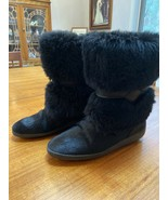 Black Fur Andrea Pfister Boots Size 38 or US 7.5 - $55.44