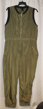 COOL NEW WOMENS PLUS SIZE 1X VINYL OLIVE GREEN BOMBER JUMPSUIT W POCKETS - $18.37