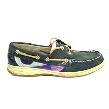 Sperry Top Sider 9.5 Navy Leather Silver Plaid Lace up Flat Loafer Boat shoe - $26.72