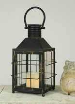 Country new  distressed black tin RAILROAD candle lantern - $57.38