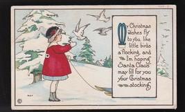 Christmas Wishes Vintage Artist Signed Postcard Margaret Evans Price - $3.98