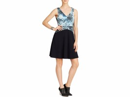 Bailey 44 Dress Sleeveless Leather Print Bodice Fit & Flare Reef XS $284... - $26.84