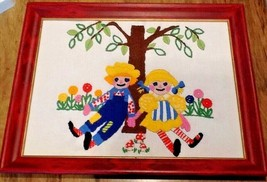 Vintage Crewel Hand Embroidery Raggedy Ann & Andy Framed Primary Colors ... - $28.79