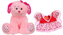 Build a Bear Precious Pink Hearts Puppy and Fairy Dress Stuffed Plush To... - $129.95