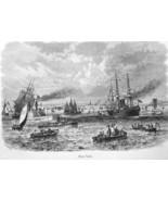 NEW YORK CITY Busy Harbor Steamer Sailships Tourist Boats - 1883 German ... - $25.20