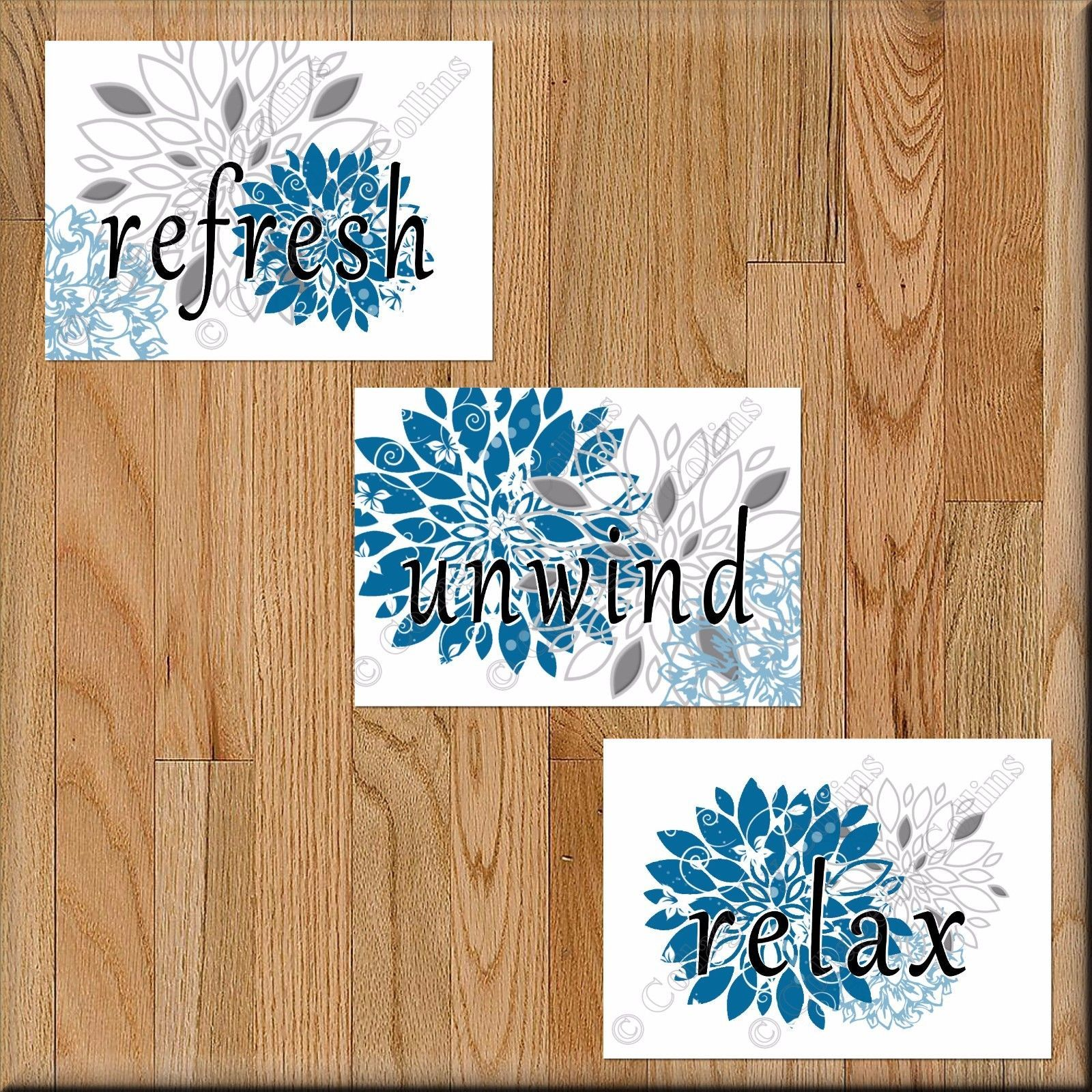 Blue Gray Bathroom Wall Art Prints Picture Floral Sayings Unwind Relax Refresh - $13.87