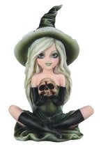 "6.5"" Green Witch Girl With Skull Statue Halloween Decor Figure Gothic Figurine - $35.00"