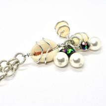 Necklace the Aluminium Long 48 Inch with Seashells Hematite and White Pearls image 7