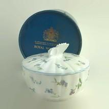 1980s Royal Worcester Forget Me Not Bon Bon Dish Butterfly Finial Bone C... - $28.01