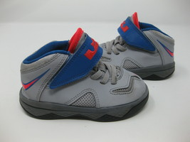 Boys NIKE LEBRON JAMES VII SOLDIER Gray Blue & Red Sneakers Size 7C - $24.74