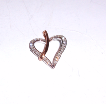 10K WHITE & ROSE GOLD DIAMOND ROUND HEART PENDANT, 0.15(TCW), 19x16MM, I2-I3/H-I - $125.00