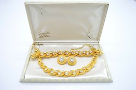 Jewels By Le Dor Clear Rhinestone Gold Tone Metal Mesh 1950s Demi Parure... - $296.99