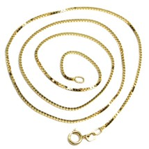"""SOLID 18K YELLOW GOLD CHAIN 1.1 MM VENETIAN SQUARE BOX 15.75"""", 40 cm, ITALY MADE image 1"""