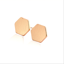 5 pairs of  Hexagon Rose Gold Plated Stud Earring Stud (NED144B) - $12.50